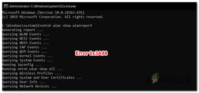 Beheben Sie den Fehler 0x3A98 beim Generieren von WlanReport über CMD