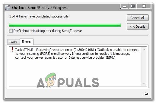 Wie behebe ich den Outlook-Fehler 0x80042108?