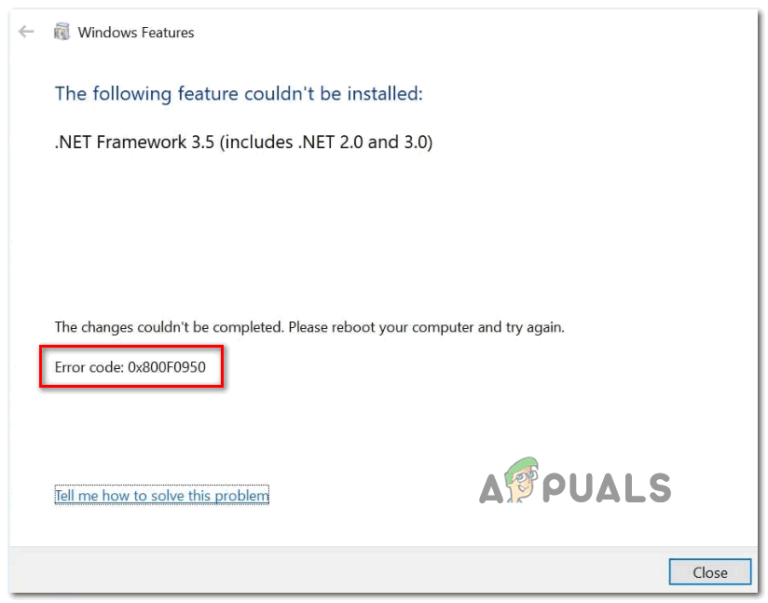 [FIX] .NET Framework 3.5-Installationsfehler 0x800F0950
