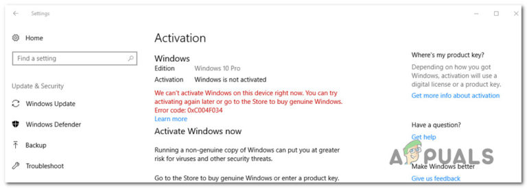 Wie behebt man den Windows 10-Aktivierungsfehler 0xc004f034?