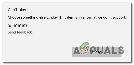 Windows Video App kann Fehler 0xc1010103 nicht abspielen