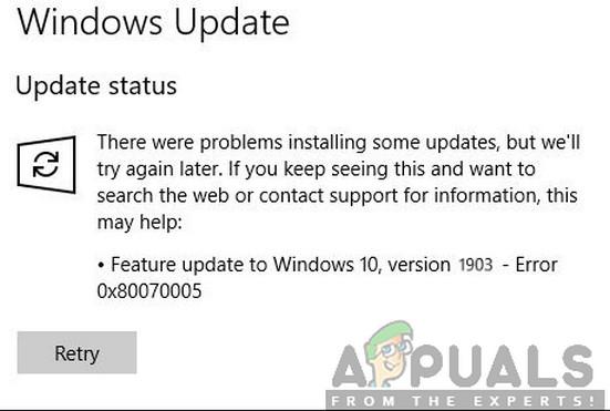 Wie behebe ich den Fehler 0x80070005 in Windows 10 Feature Update 1903?