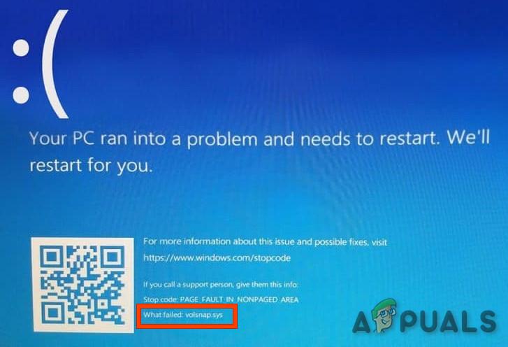 Beheben Sie Volsnap.sys Blue Screen Error (BSOD) unter Windows 10
