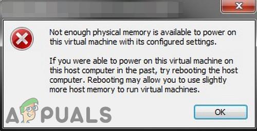 Nicht genügend physischer Speicherfehler in VMware