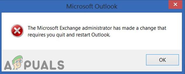 Fix: Der Exchange-Administrator hat eine Änderung vorgenommen, bei der Sie Outlook beenden und neu starten müssen