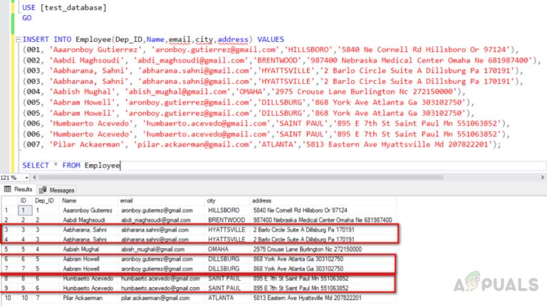 Wie entferne ich doppelte Zeilen aus einer SQL Server-Tabelle?