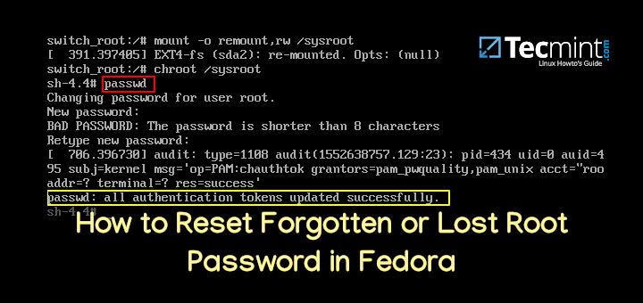 So setzen Sie vergessenes oder verlorenes Root-Passwort in Fedora zurück
