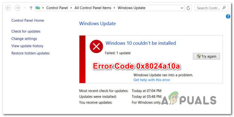 Wie behebt man den Windows 10 Update-Fehlercode 0x8024a10a?