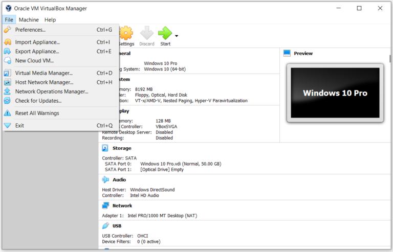 Grundlegendes zur Oracle VM VirtualBox (Menü)
