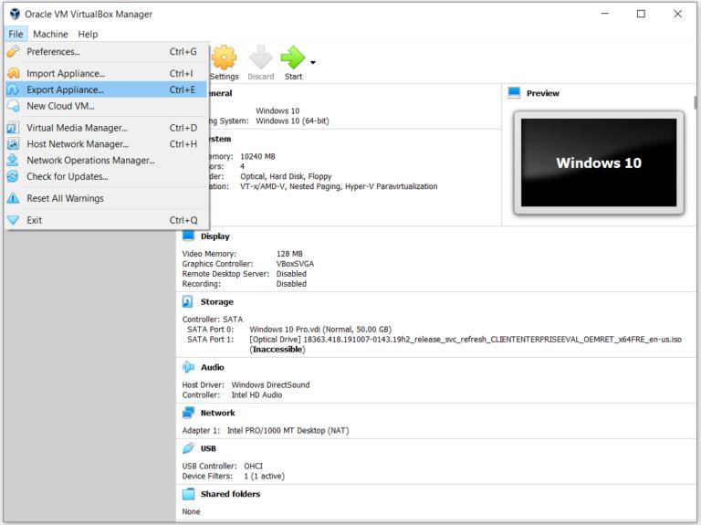 Exportieren und Importieren von VMs in Oracle VM VirtualBox
