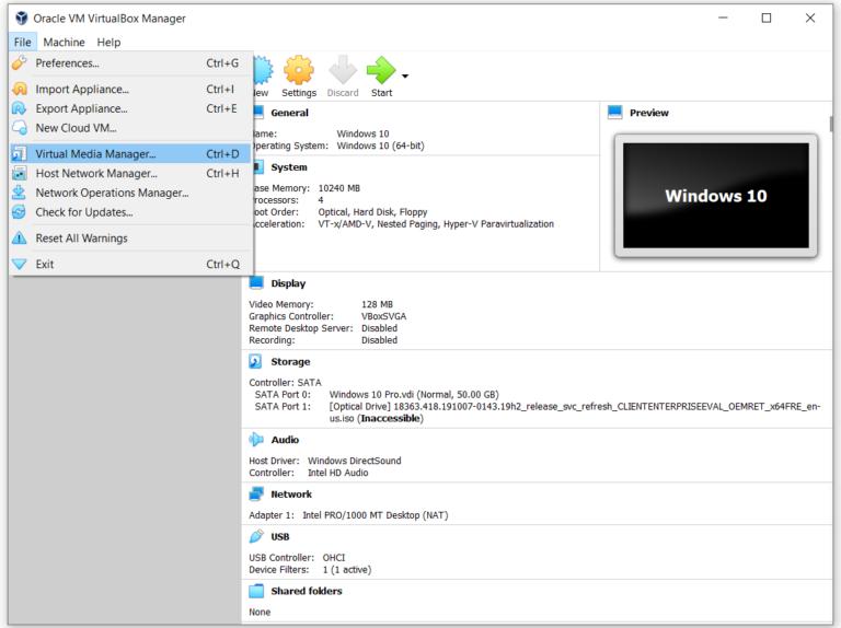 Verwenden von Virtual Media Manager in Oracle VM VirtualBox