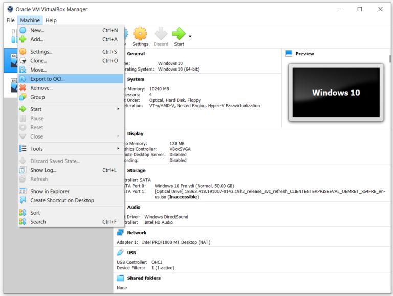 Exportieren Sie die virtuelle Maschine in die OVA-Datei in Oracle VM VirtualBox