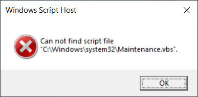 Fix: Skriptdatei 'C: Windowssystem32Maintenance.vbs' kann nicht gefunden werden '