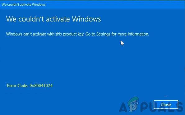 Fix: Windows 10-Aktivierungsfehler 0x80041024