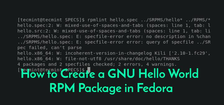 So erstellen Sie ein GNU Hello World-RPM-Paket in Fedora