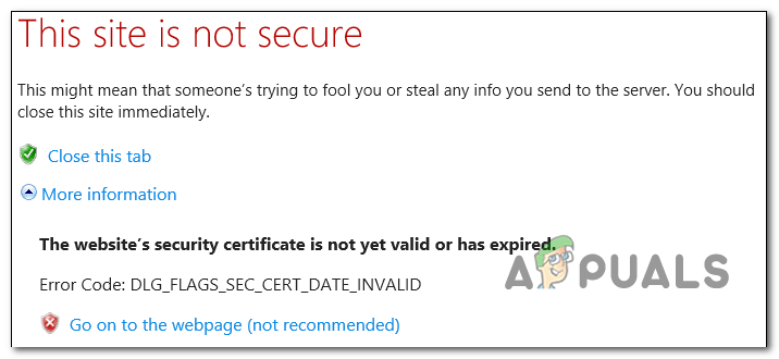 Fix: DLG_FLAGS_SEC_CERT_DATE_INVALID in Internet Explorer oder Edge