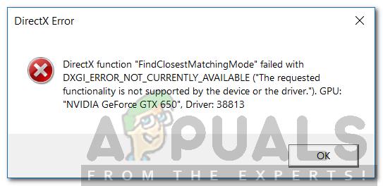 Wie behebe ich den Fehler DXGI_ERROR_NOT_CURRENTLY_AVAILABLE?