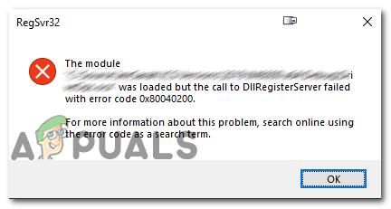 Fix: DllUnregisterServer fehlgeschlagen mit Fehlercode 0x80040200