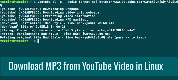 Herunterladen von MP3-Titeln von einem YouTube-Video mit YouTube-DL