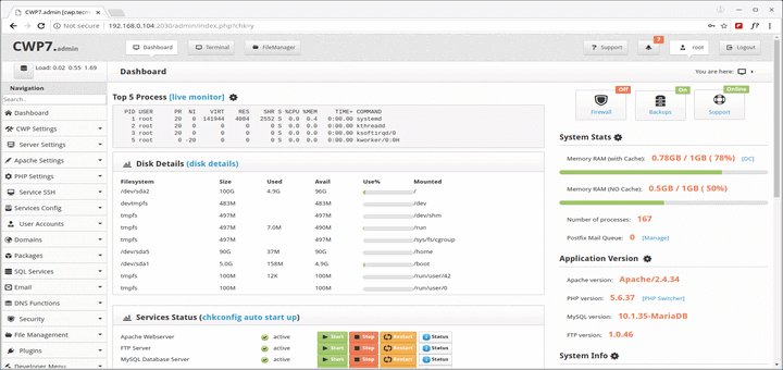 So installieren Sie CentOS Web Panel (CWP) unter CentOS 7