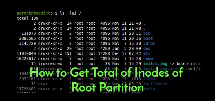 So erhalten Sie die Gesamtzahl der Inodes der Root-Partition