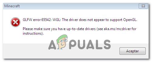 Wie behebt man den Minecraft GLFW-Fehler 65542 (Treiber unterstützt OpenGL nicht)?