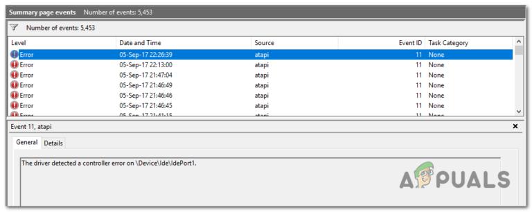 Treiber hat einen Controller-Fehler auf DeviceIdeIdePort1 festgestellt