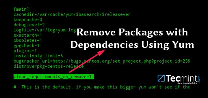 So entfernen Sie Pakete mit Abhängigkeiten mit Yum