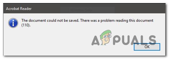 Adobe Reader-Fehler 110 'Das Dokument konnte nicht gespeichert werden'