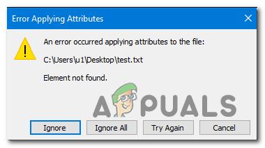 Behebung des Fehlers beim Anwenden von Attributen auf die Datei unter Windows