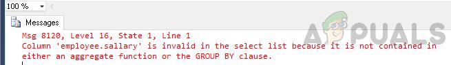 So beheben Sie den Fehler 'Spalte ist in der Auswahlliste ungültig, da sie weder in einer Aggregatfunktion noch in der GROUP BY-Klausel enthalten ist'