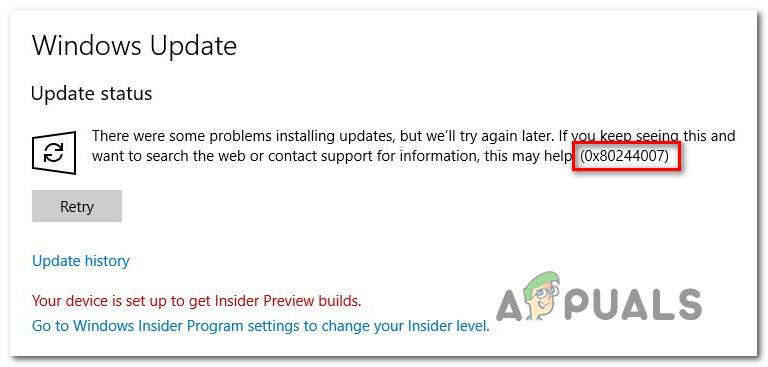 Wie behebt man den Windows Update-Fehler 0x80244007?
