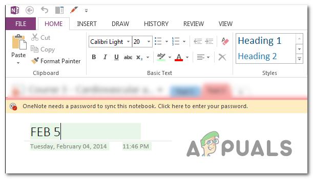 Behebung des Fehlers 'OneNote benötigt ein Passwort zum Synchronisieren dieses Notebooks'