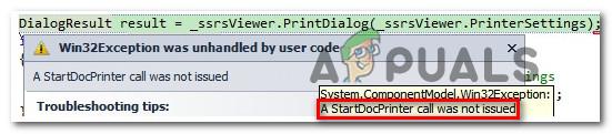 """Wie kann der Fehler """"Ein Startdocprinter-Aufruf wurde nicht ausgegeben"""" behoben werden?"""