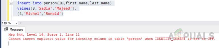 """So beheben Sie den Fehler """"Expliziter Wert für Identitätsspalte kann nicht in Tabelle eingefügt werden, wenn IDENTITY_INSERT auf OFF gesetzt ist""""?"""