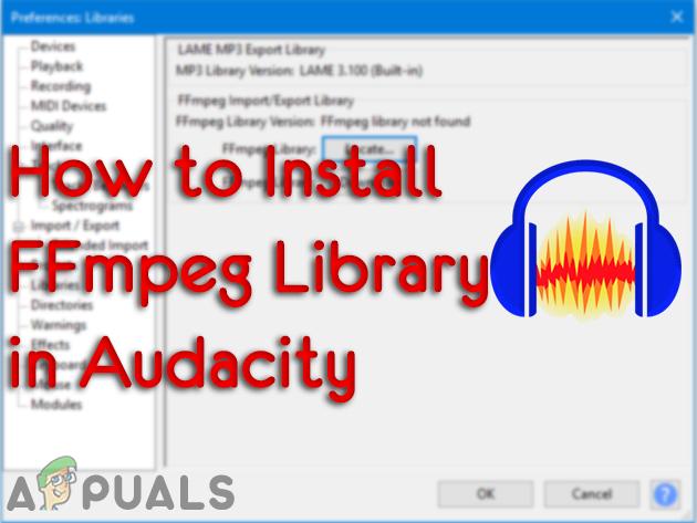 Installieren der FFmpeg-Bibliothek in Audacity