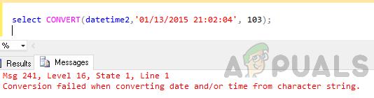 """Wie kann der Fehler """"Konvertierung beim Konvertieren von Datum und / oder Uhrzeit aus Zeichenfolge fehlgeschlagen"""" behoben werden?"""
