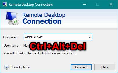 Wie sende ich Strg + Alt + Entf über Remotedesktop?