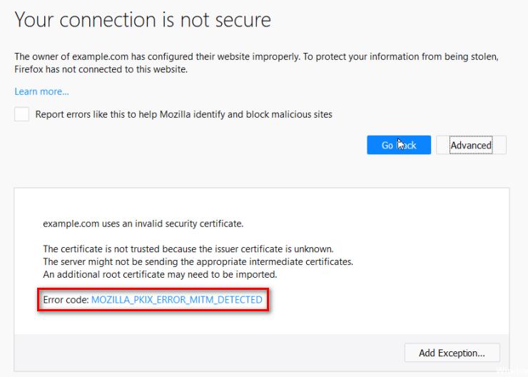 Fix: MOZILLA_PKIX_ERROR_MITM_DETECTED Fehler in Firefox