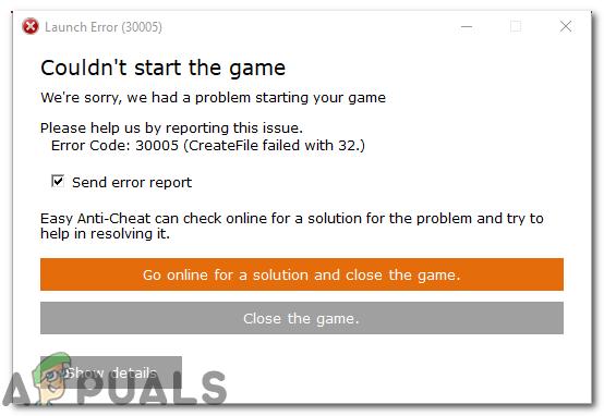 Fehler 30005: Datei fehlgeschlagen mit 32 'Spiel konnte nicht gestartet werden'