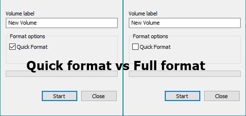 Was ist der Unterschied zwischen Schnellformat und Vollformat in Windows?