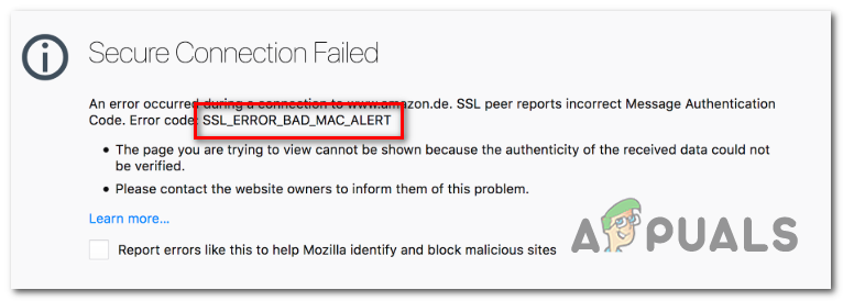 Wie behebt man den Firefox-Fehler 'SSL_Error_Bad_Mac_Alert'?