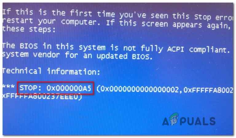 Beheben Sie den STOP-Fehler 0x000000A5 bei der Installation von Windows 7
