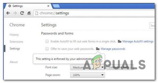 Diese Einstellung ist ein erzwungener Fehler in Google Chrome