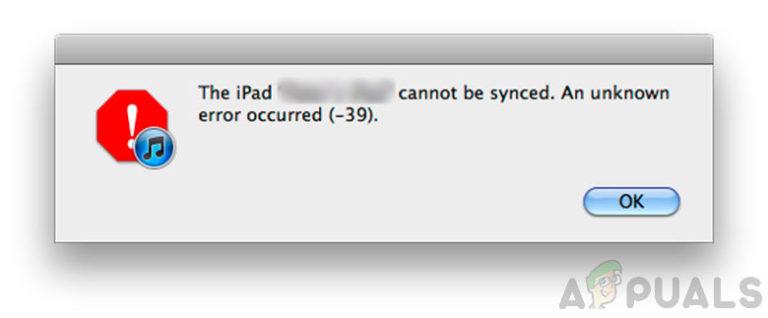 iPhone oder iPad können aufgrund eines unbekannten Fehlers -39 nicht synchronisiert werden
