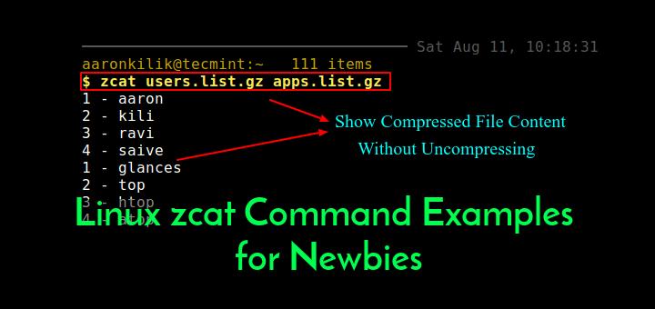 Linux zcat-Befehlsbeispiele für Neulinge