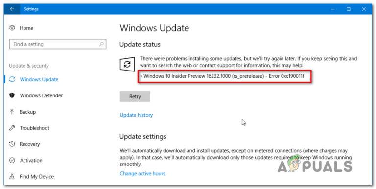 So beheben Sie den Windows Update-Fehler 0xc190011f