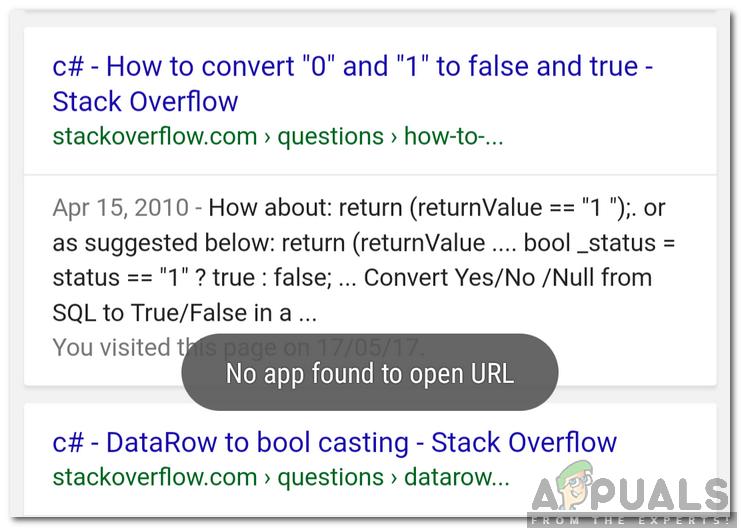 """Wie behebt man den Fehler """"Keine App zum Öffnen der URL gefunden"""" unter Android?"""