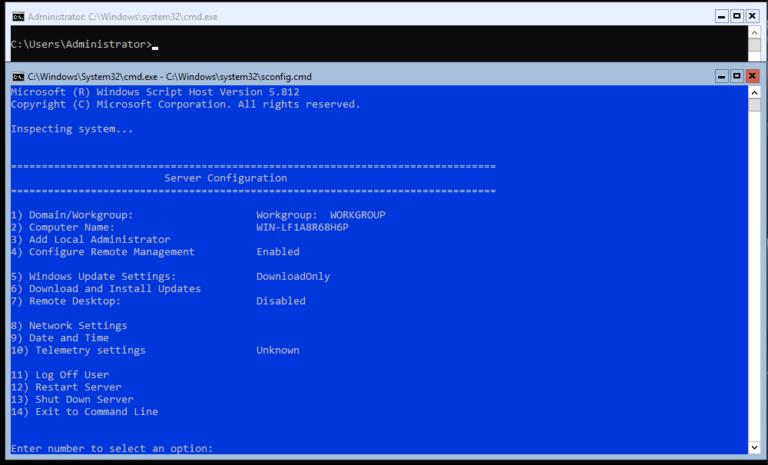 Hyper-V 2019 Core Server – Erstkonfiguration