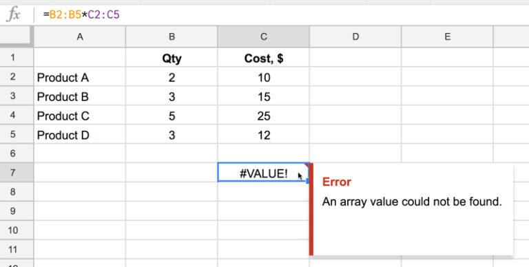 """So beheben Sie den Fehler """"Ein Array-Wert konnte nicht gefunden werden"""" in Excel"""
